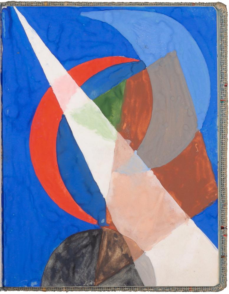 farbige Zeichnung mit überlappenden geometrischen Formen