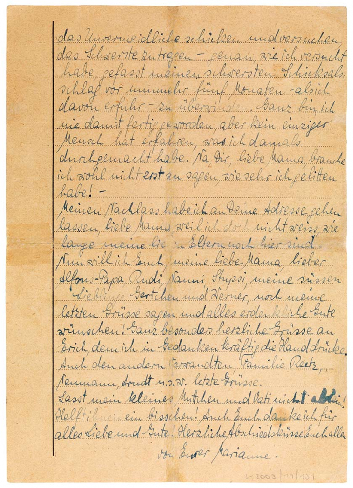 Die Rückseite des im Fließtext transkribierten Briefes