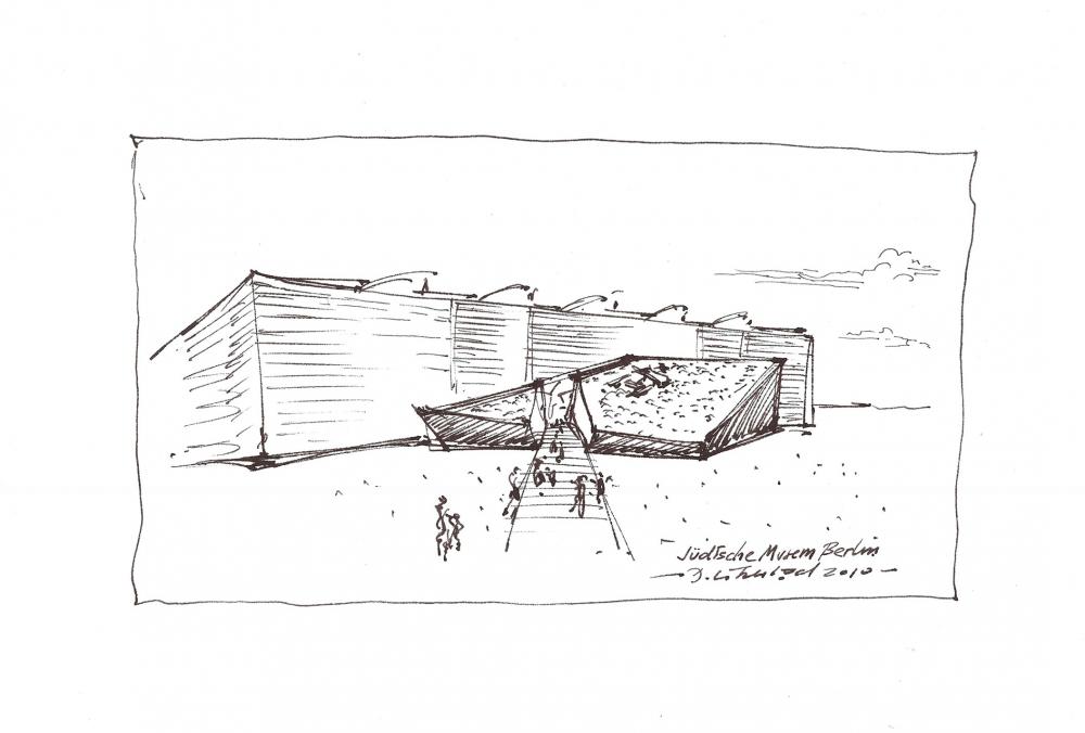 Entwurfszeichnung eines Gebäudes