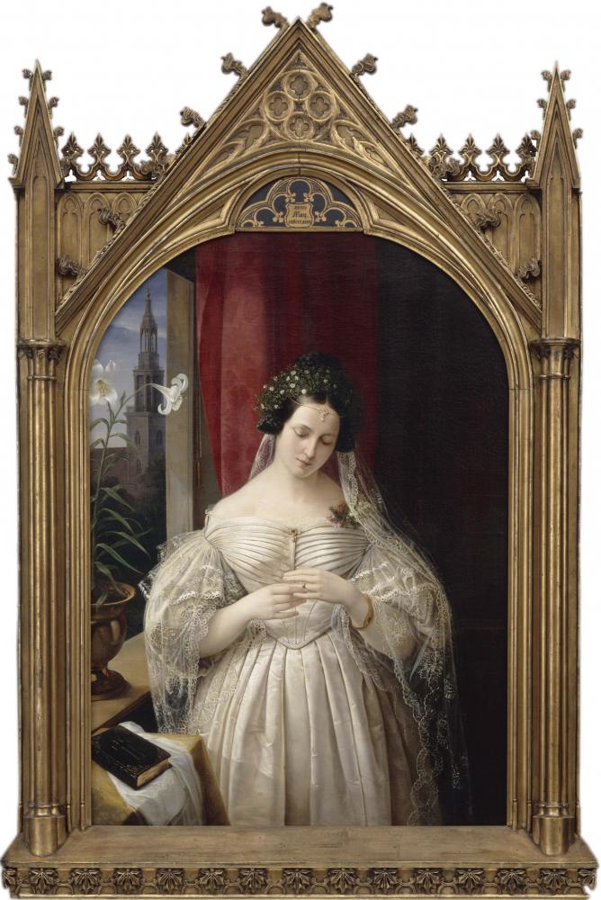 Painting of Albertine Mendelssohn-Bartholdy in an elaborate gold frame