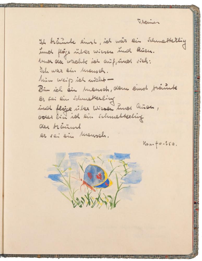 handschriftlicher Text, mit Tinte geschrieben, darunter eine farbige Zeichnung eines Schmetterlings