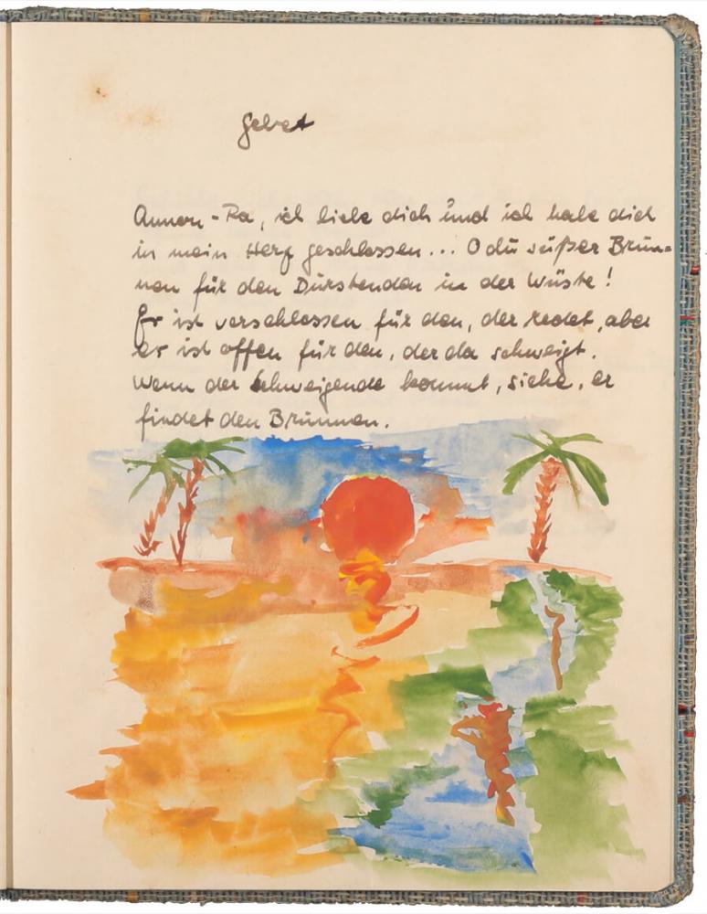 handschriftlicher Text, mit Tinte geschrieben, darunter eine farbige Zeichnung von einem Sonnenuntergang mit Palmen