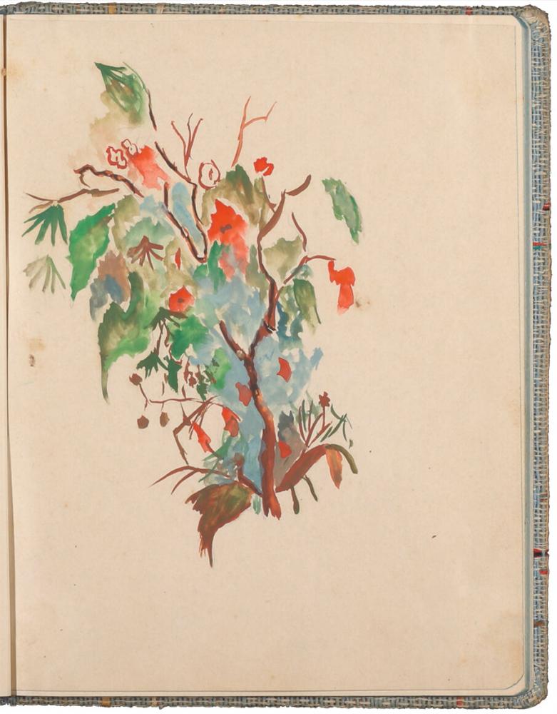 farbige Zeichnung von Ästen und Zweigen mit buntem Herbstlaub