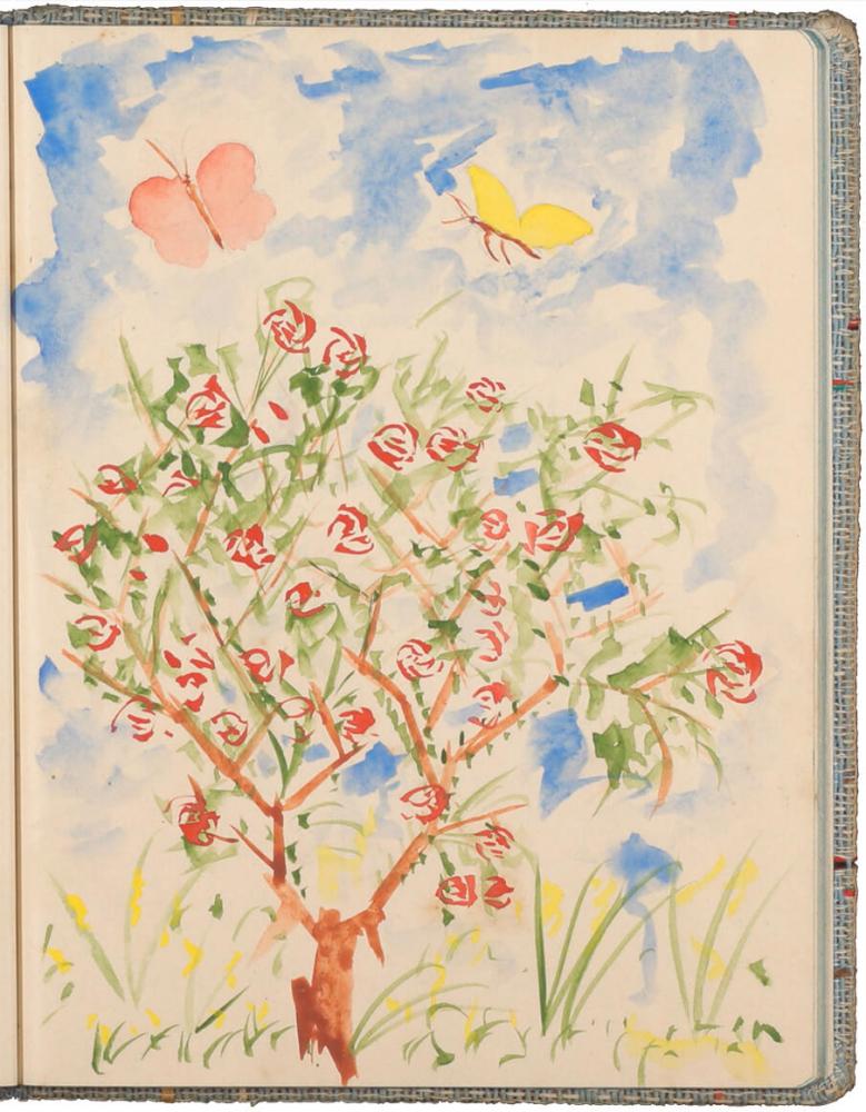 farbige Zeichnung eines Baumes mit roten Blüten, darüber zwei Schmetterlinge am blauen Himmel