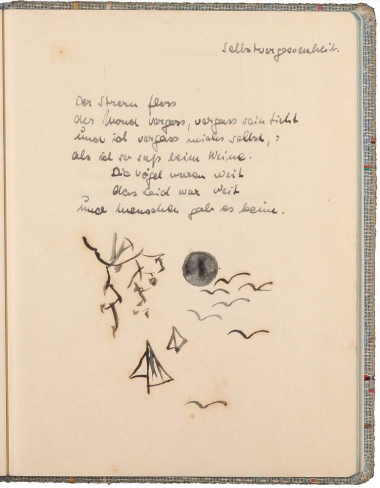handschriftlicher Text, mit Tinte geschrieben, darunter schwarz-weiß-Zeichnung mit schwarzem Mond und stilisierten Vögeln