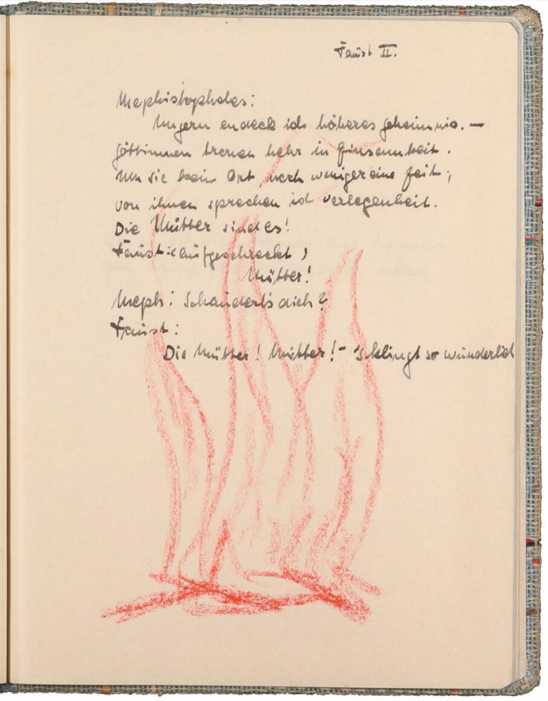 handschriftlicher Text, mit Tinte geschrieben, darunter Zeichnung von rötlichen Flammen