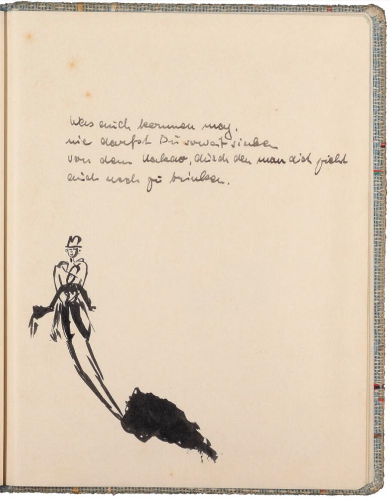 handschriftlicher Text, mit Tinte geschrieben, darunter schwarz-weiß-Zeichnung von zwei Männern und einem schwarzen Fleck
