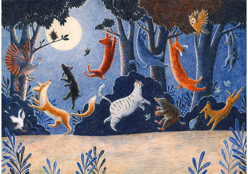 Verschiedene Tiere wie Fuchs, Katze, Hund, Vogel springen oder tanzen im Wald bei Mondlicht