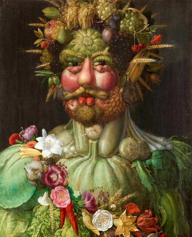 Aus Obst, Gemüse und Ähren geformtes Portrait eines Mannes