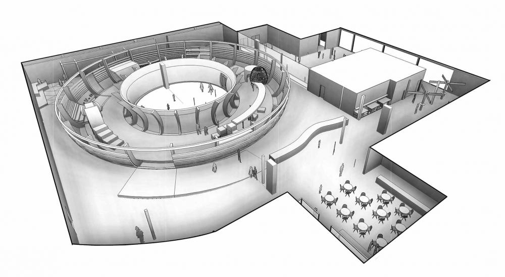 Entwurf des Kindermuseums mit Eingangsbereich, Foyer, Bistro und Ausstellungsflächen.
