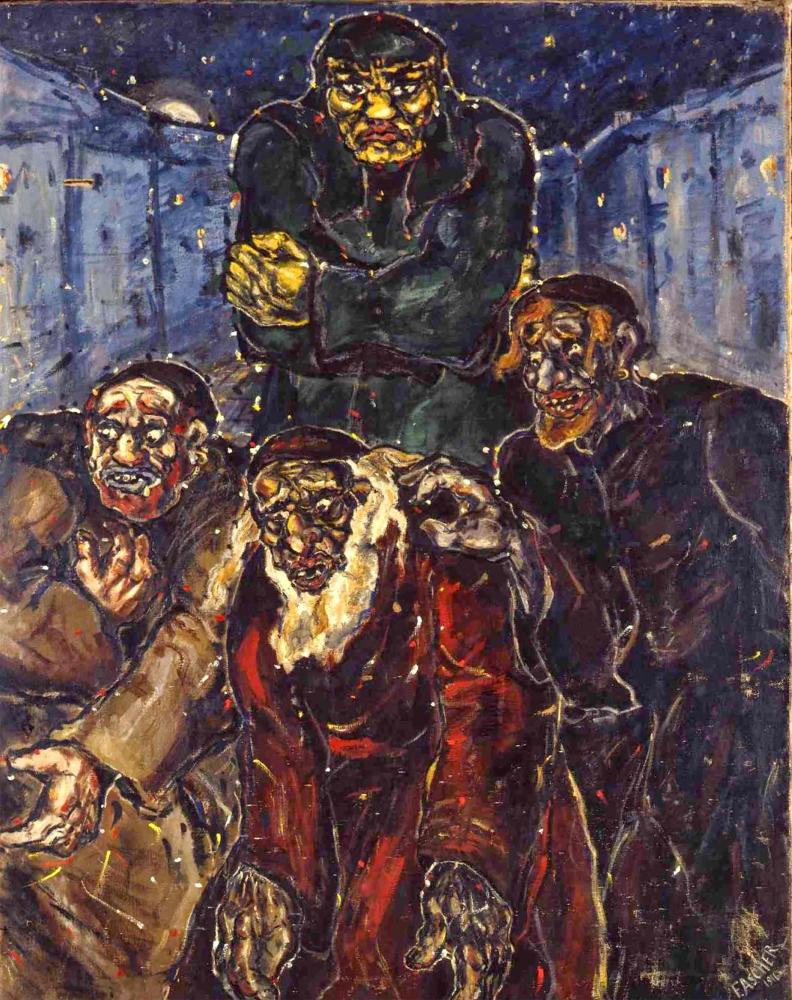 Düster-expressionistisches Ölgemälde der Legendenfigur Golem und drei weiterer Gestalten, auf den Betrachter zukommend, im Hintergrund enge Gasse.
