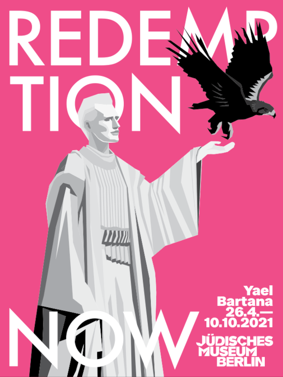 A graphic against a pink background shows a statue of a woman lifting an eagle for flight. In the background, the title of the exhibition in large letters: Redemption Now
