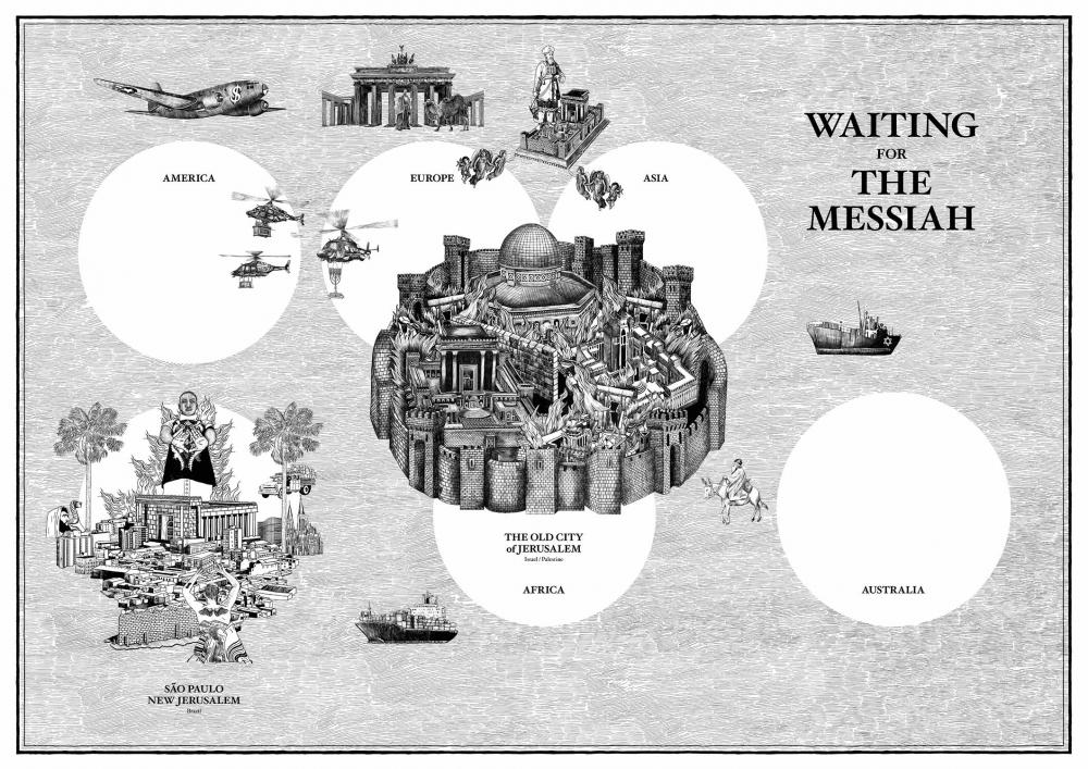 Weltkarte, deren Zentrum die Altstadt von Jerusalem bildet. Alle Kontinente sind als weiße Kreise visualisiert.