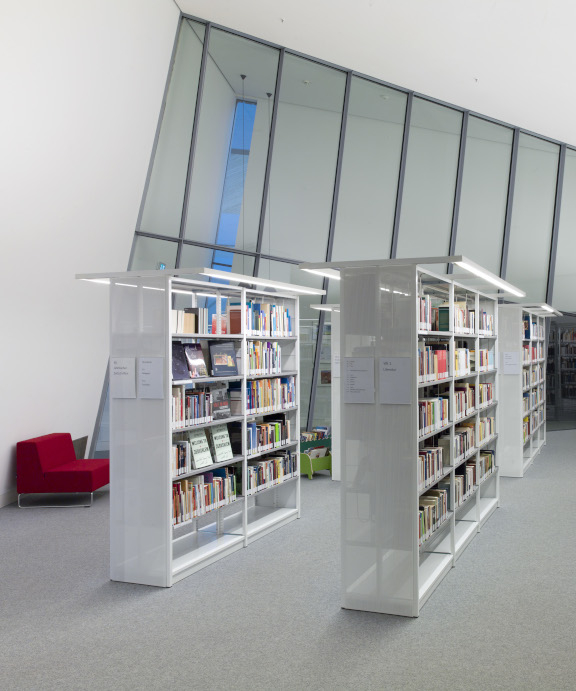 Bookshelves lined up in a row with a large window front in the background.