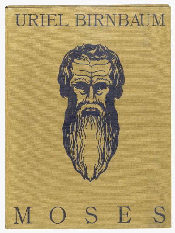 Buchcover mit Druckstencil des Kopfes Moses'
