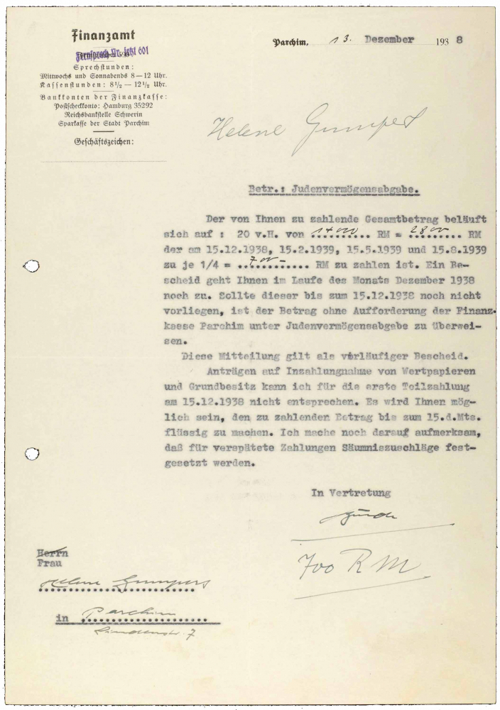 Letter with tax office letterhead, typewritten, copy with handwritten additions