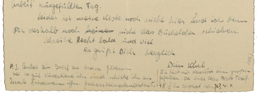 Detailansicht eines handschriftlichen Briefes