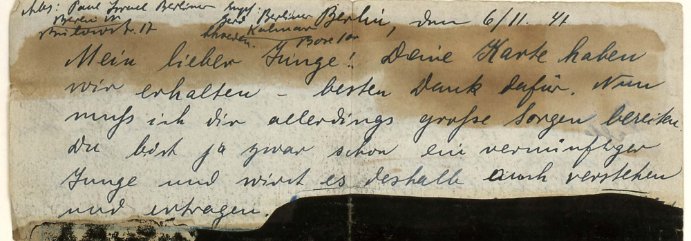 Brief mit geschwärzten Abschnitten (Ausschnitt)