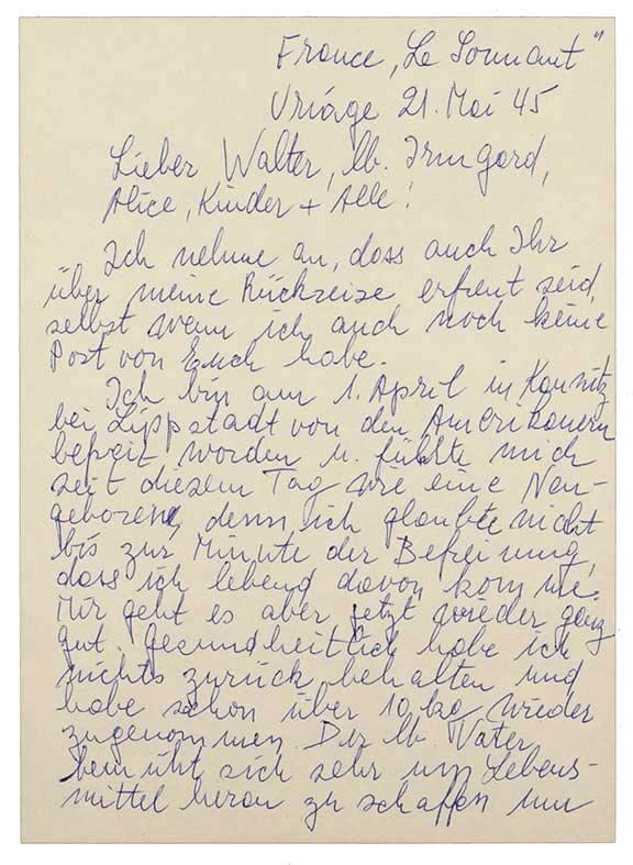 Die erste Seite des im Fließtext ausführlich zitierten Briefs