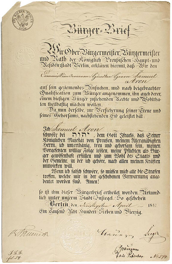 Paper in German in which the mayors of Berlin declare Samuel Aron a citizen with all corresponding rights