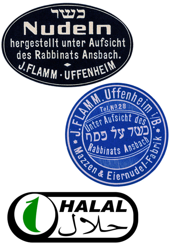 Collage of two stickers and a logo