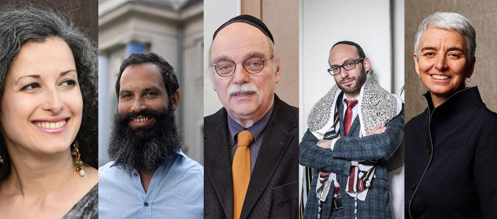 Collage von Porträtfotos der fünf in der Bildunterschrift genannten Personen