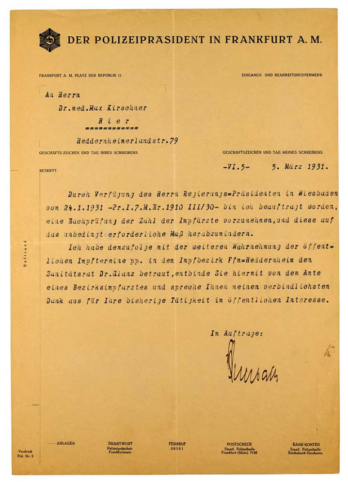 A typewritten page. Thank-you letter from the police commissioner to Dr. Max Kirschner relieving him of the duty of administering vaccinations in the Heddernheim district of Frankfurt.