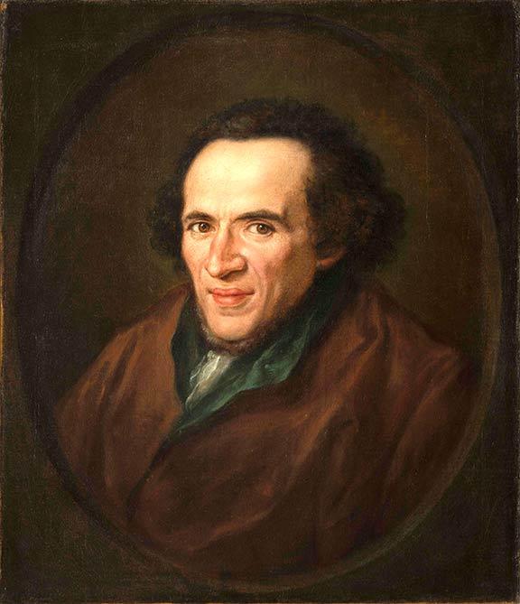 Ölgemälde: Porträt von Moses Mendelssohn im Halbprofil in einem gemalten ovalen Rahmen dargestellt, die Augen sind auf die Betrachtenden gerichtet.