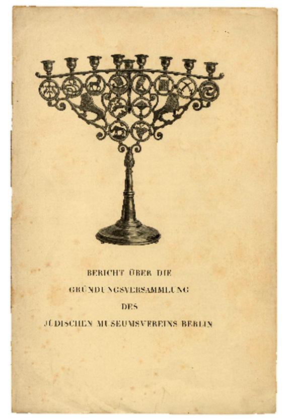 Buchcover Bericht über Gründungsversammlung des Jüdischen Museumsvereins Berlin, mit Menora verziert