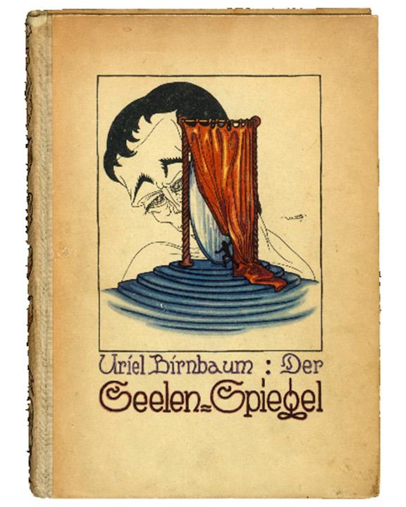 Buchcover Uriel Birnbaum: Der Seelen-Spiegel (mit Zeichnung eines großen Kopfes hinter einem kleinen Bühnenvorhang)