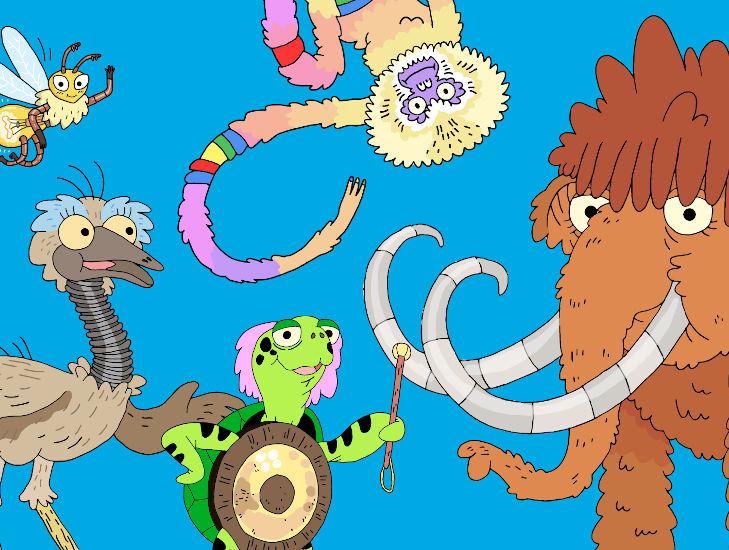 Gezeichnete Tiere: eine grüne Schildkröte, ein bunter Affe, ein Mammut und ein Emu