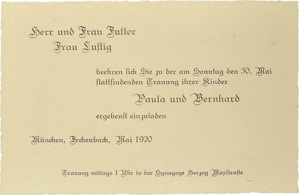 Invitation to the wedding of Paula Futter and Bernhard Lustig