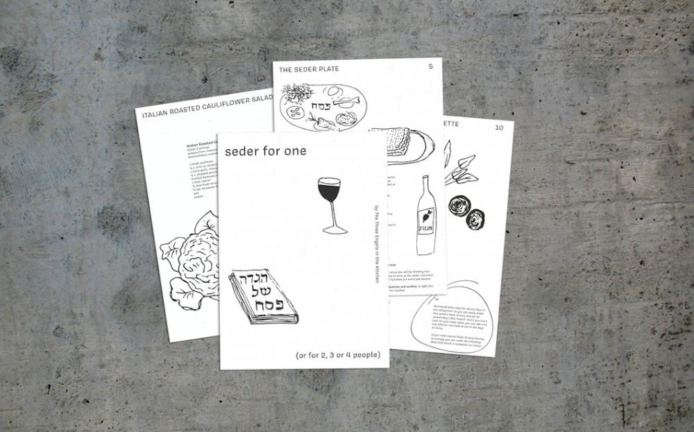 Auf grauem Hintergrund liegen mehrere Karten, auf denen mit Zeichnungen ein Rezept mit dem Titel
