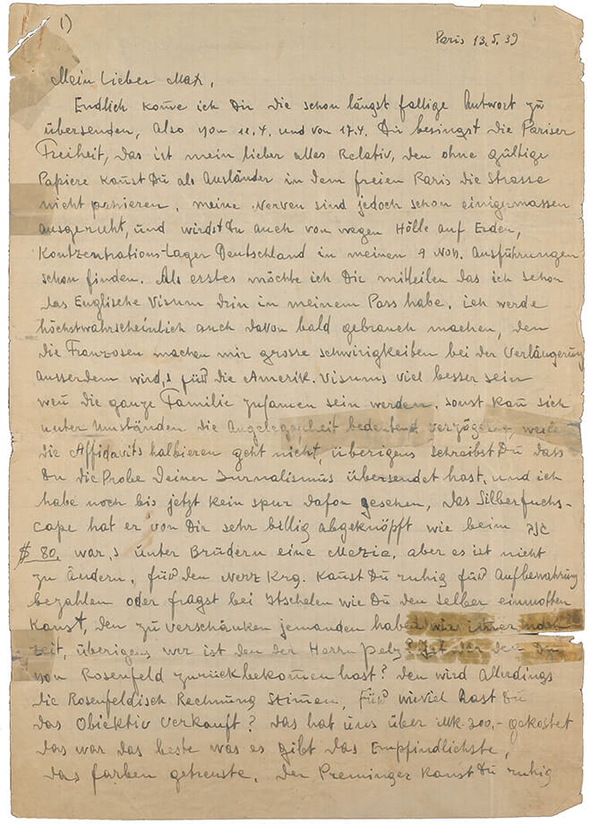 Handwritten letter - yellowed paper with densely cramped lines