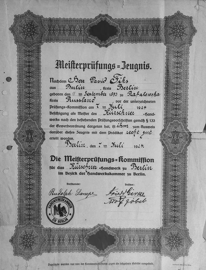 black-and-white copy of a certificate with a decorative rectangular outline