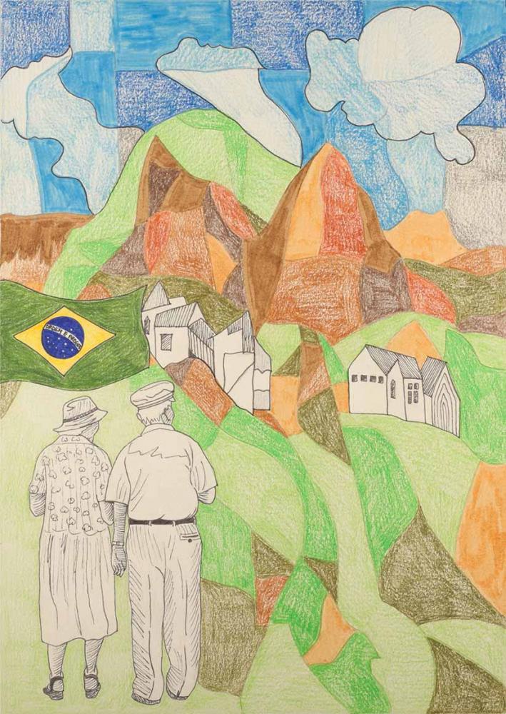 Vorne im Bild ist ein gezeichnetes älteres Paar von hinten zu sehen, sie halten sich an den Händen und blicken auf eine bergige Landschaft und einige Häuser. Links über dem Paar schwebt eine brasilianische Flagge