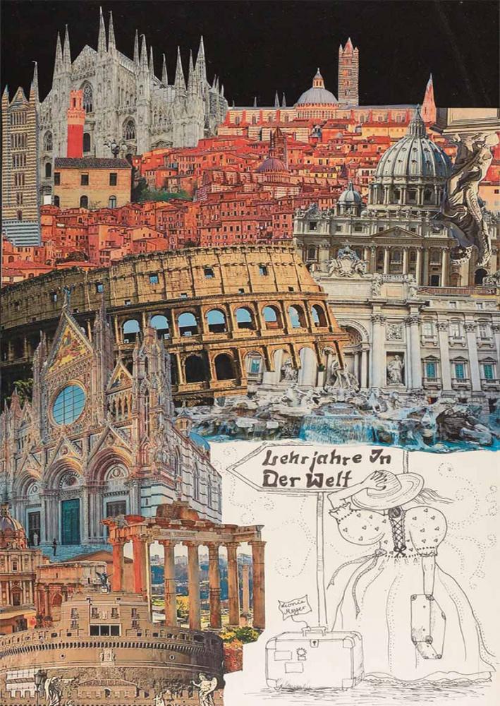 Vor einer bunten Collage aus Wahrzeichen italienischer Städte ist in der rechten unteren Ecke eine gezeichnete junge Frau von hinten zu sehen, neben ihr steht ein Koffer.