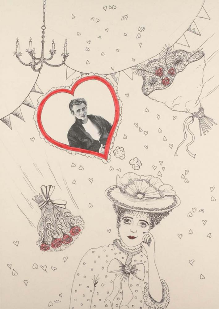 Zeichnung einer jungen Frau, um sie herum sind einige Rosensträuße, viele kleine und ein großes Herz zu sehen. Ins große Herz wurde ein Foto von James Dean eingeklebt