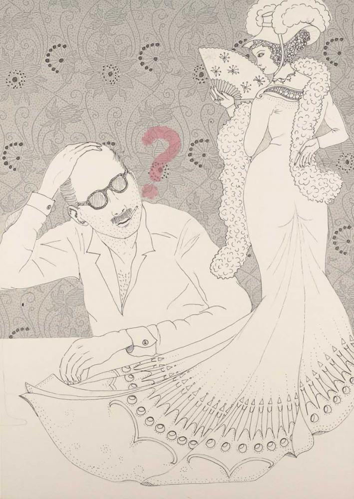 Rechts im Bild ist eine gezeichnete Frau in schicker Garderobe mit Fächer von hinten zu sehen, sie blickt über ihre linke Schulter auf einen gezeichneten Mann herab, der sich mit der Hand über den Kopf streicht