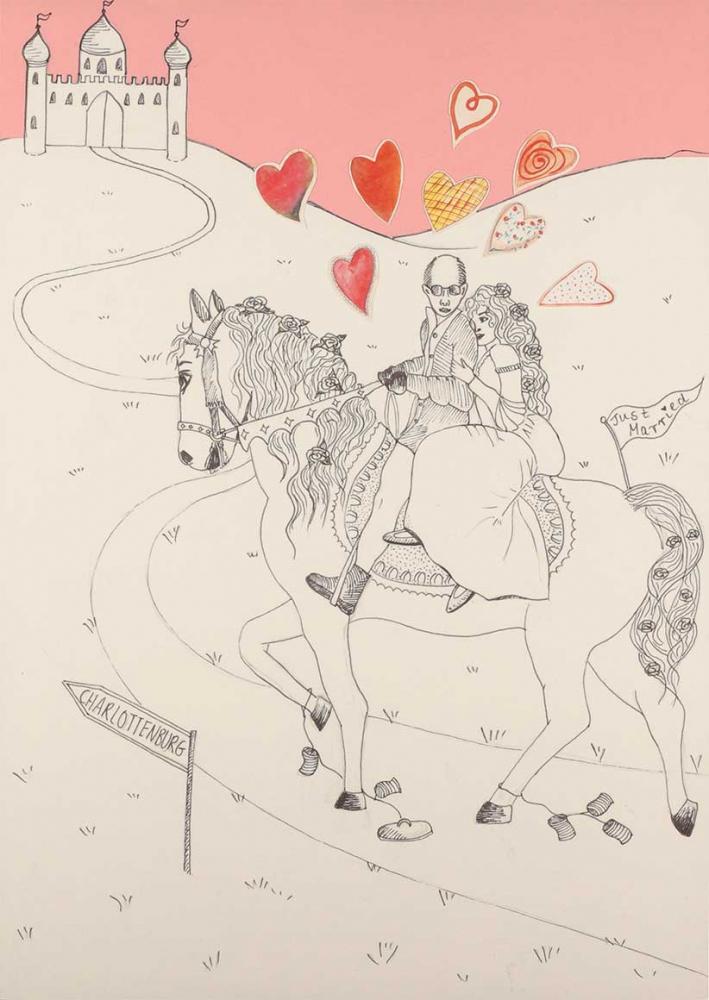"""Die Zeichnung zeigt einen Mann und eine Frau, die auf einem Pferd einen Weg entlangreiten, der auf ein Stadttor zuführt. Um sie herum sind viele Herzchen und ein Wegweiser mit der Aufschrift """"Charlottenburg"""" zu sehen"""