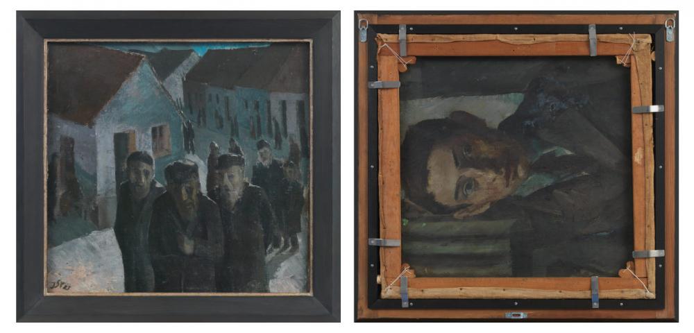 Man sieht die beiden Gemälde nebeneinander; eines zeigt eine Schlange ältere Menschen in Dorf ähnlicher Kulisse, das andere ein Porträt eines jungen Mannes