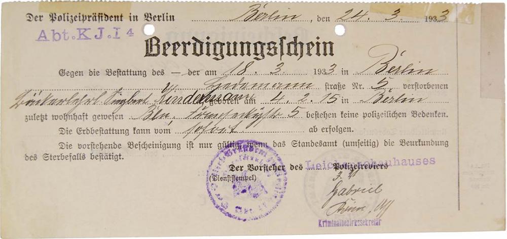 Vordruck mit handschriftlichen Eintragungen