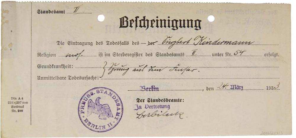 Vordruck mit handschriftlichen Eintragungen und Stempel des Preussischen Standesamts Berlin II
