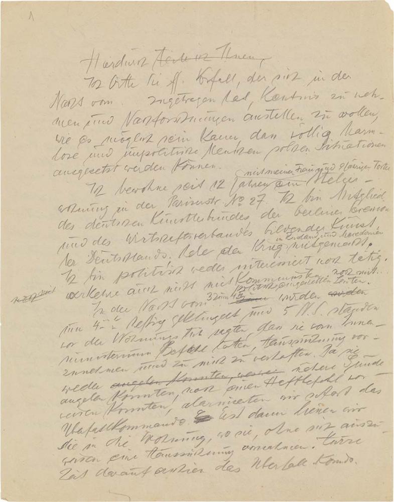 Handschriftlicher Entwurf eines Briefs mit Korrekturen