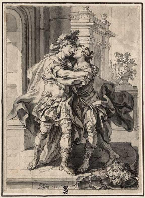 Zeichnung zweier Männer, die sich in den Arm fallen, am unteren Bildrand das abgeschlagene Haupt Goliaths, den David zuvor besiegt hat