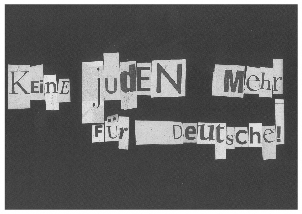 "Postcard with the slogan ""Keine Juden mehr für Deutsche!"" (We're not Jews for Germans' sake) written in cut-out and pasted-on letters"