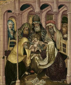 Historical painting of a small baby being circumcised by older men wearing cloth