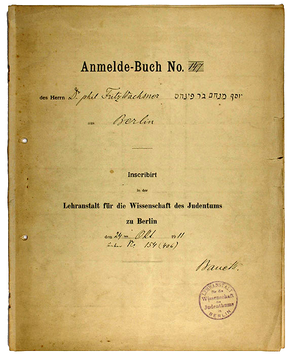 Exercise notebook of Fritz Wachsner