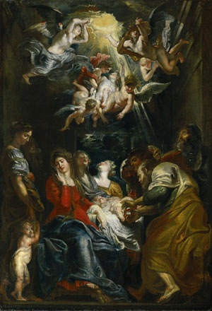 Renaissance painting of a small baby surrounded by people, angels with white feathered wings look down from the parting clouds above