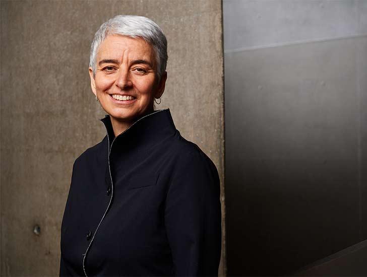 Portrait of Hetty Berg inside the Libeskind building